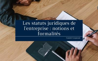 Les statuts juridiques de l'entreprise : notions et formalités