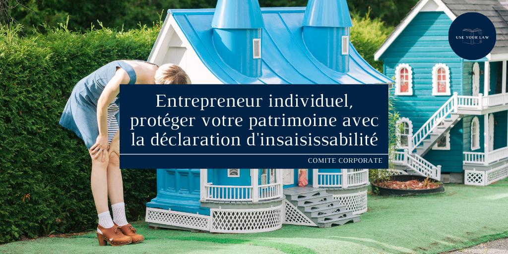 Entrepreneur individuel, protéger votre patrimoine avec la déclaration d'insaisissabilité